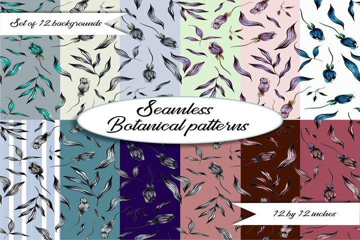 Seamless floral patterns.Botanical flower digital patterns.