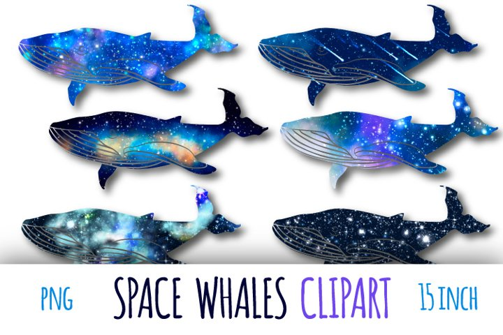 Galaxy whales clipart. Sublimation clipart