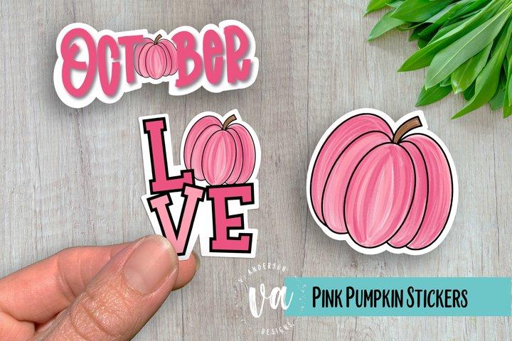 Pink Pumpkin Sticker Pack PNGs