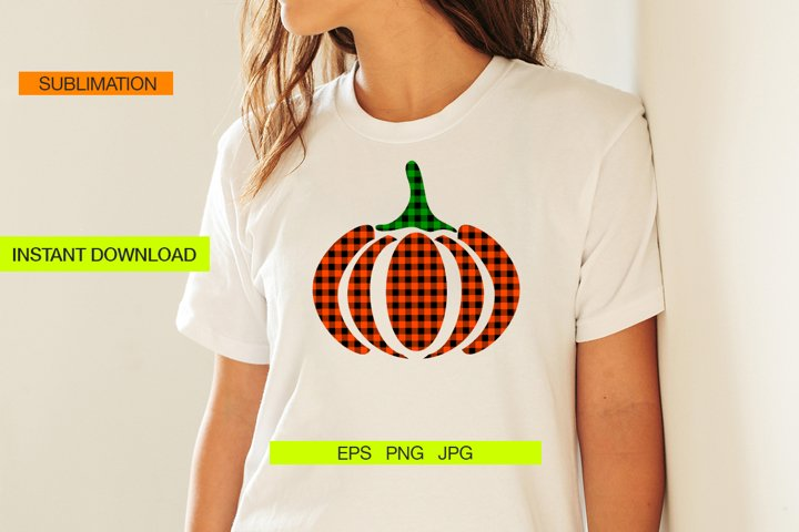 Plaid Pumpkin for Sublimation Design,Vector Design EPS