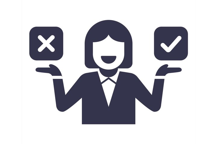 the character chooses either yes or no. icon with answer