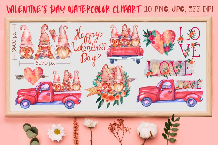 Valentines Day Bundle. Watercolor Gnomes. Valentines