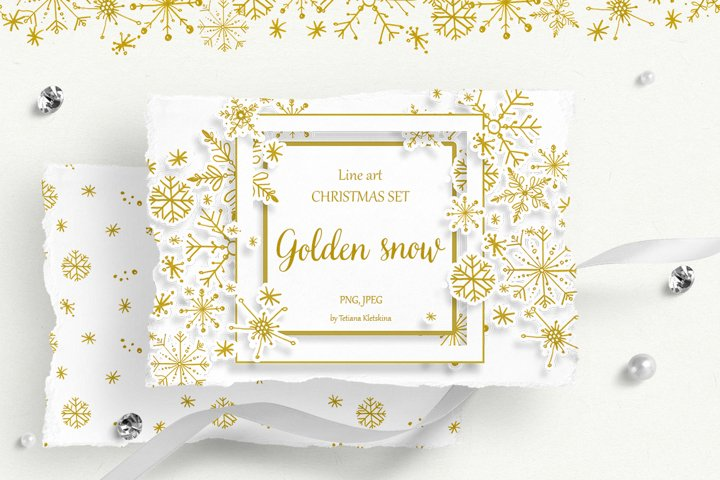 Golden Snow. Line art collection.