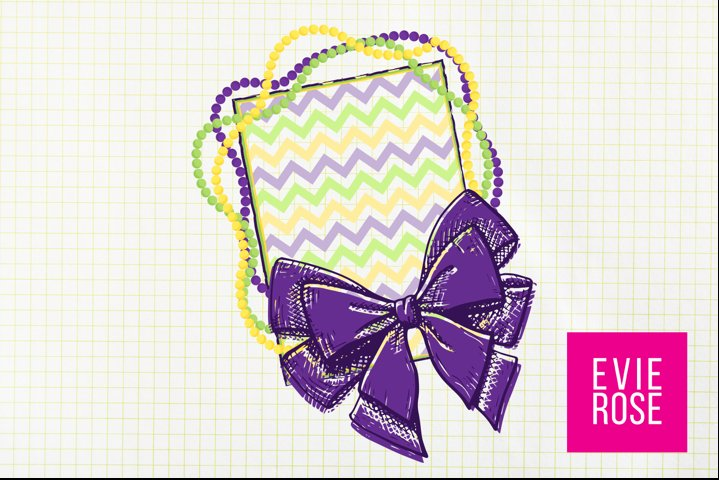 Mardi Gras Purple, Green, and Gold Bow and Beads Frame PNG