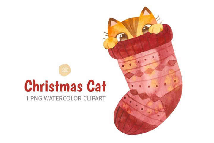 Watercolor Christmas clipart. Ginger Cat Clipart