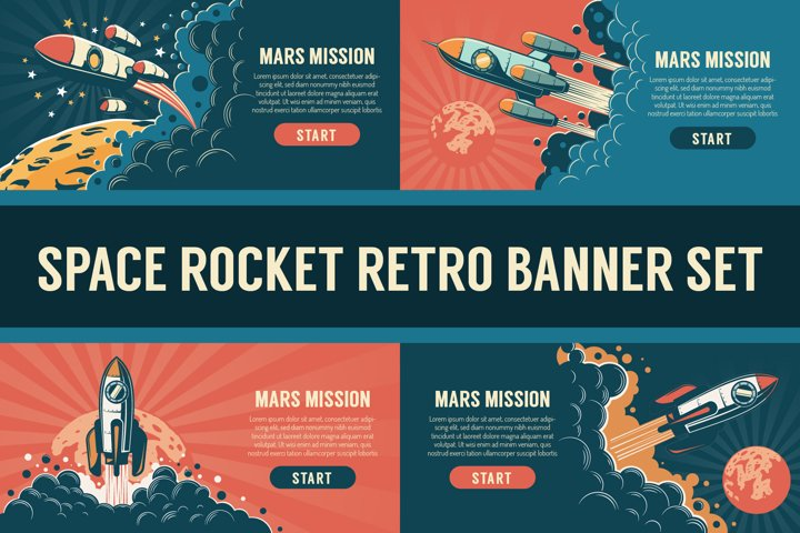Space Rocket Vintage Banner Set