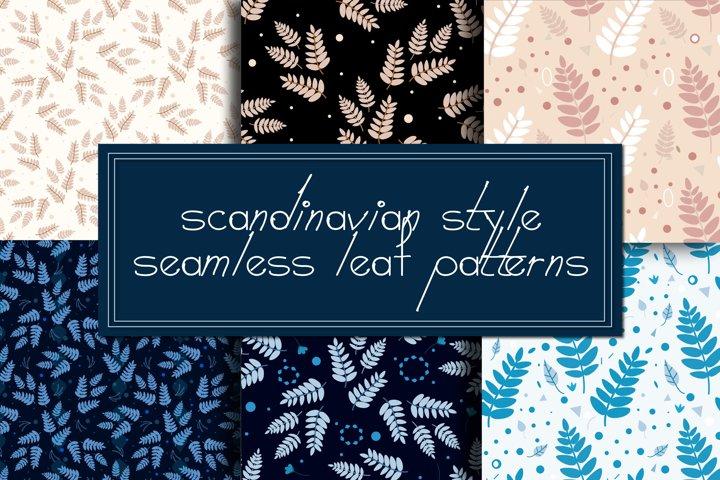 Scandinavian patterns|Leaf patterns|Leaves digital paper
