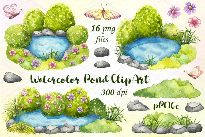 Watercolor pond clipart / grass clipart
