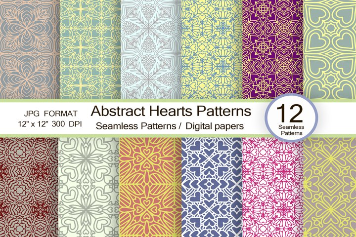 Abstract Hearts patterns, scrapbook paper, trendy pattern