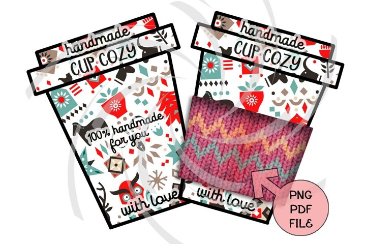 Cup cozy display card template Crochet tags norwegian folk