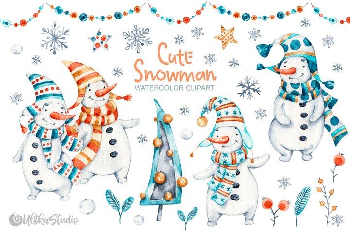 Cute Xmas naive Snowman Christmas watercolor nursery clipart