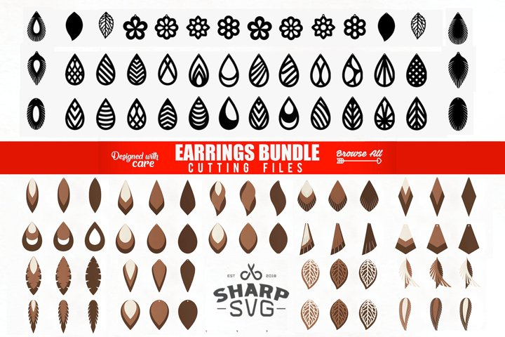 Earrings SVG - Teardrop SVG - Cutting Templates BUNDLE