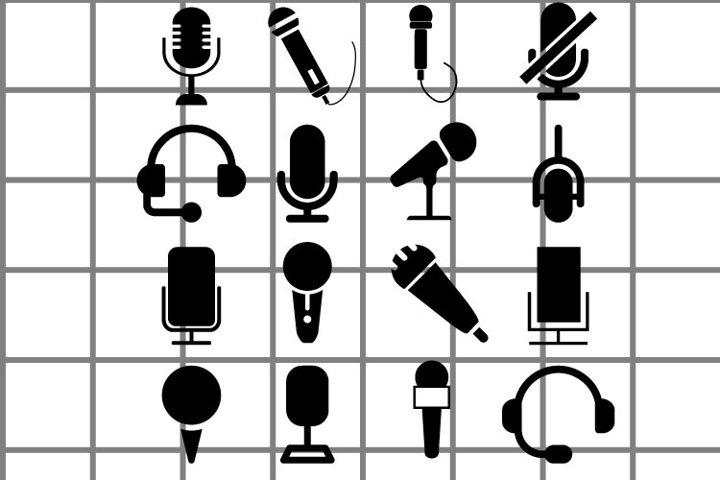 Microphone or mic SVG set for cut. Karaoke illustration.
