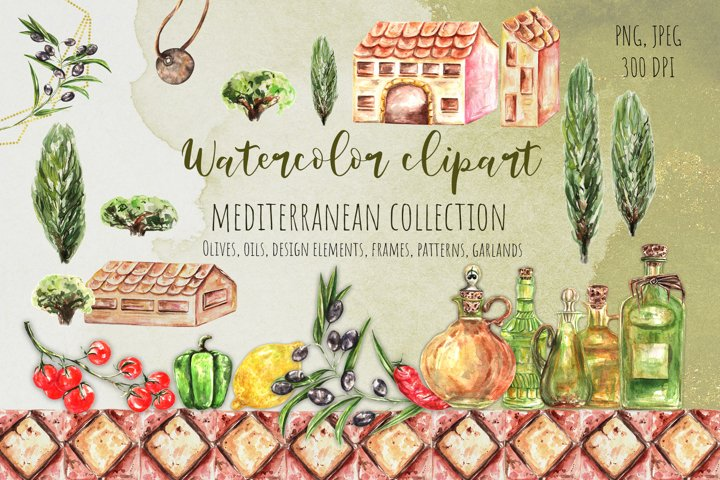 Watercolor Essential Oils Mediterranean Clipart, Vegetables
