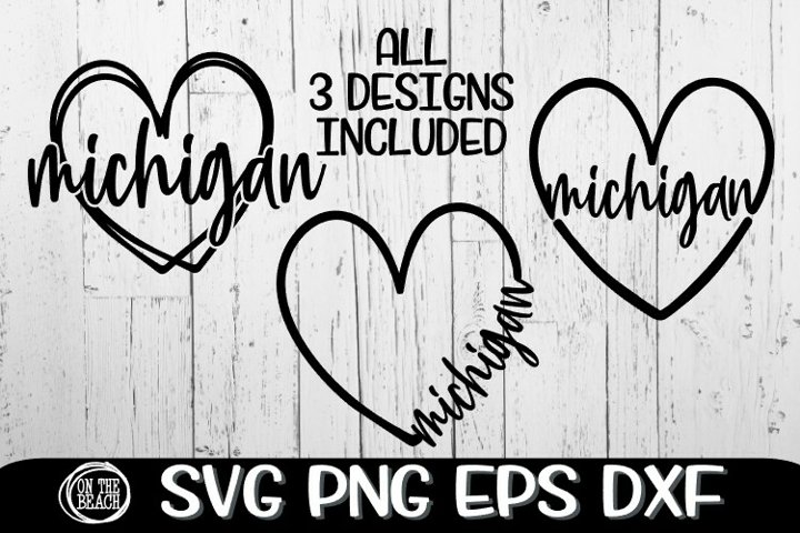 Michigan - Heart - 3 Designs Included - SVG PNG EPS DXF