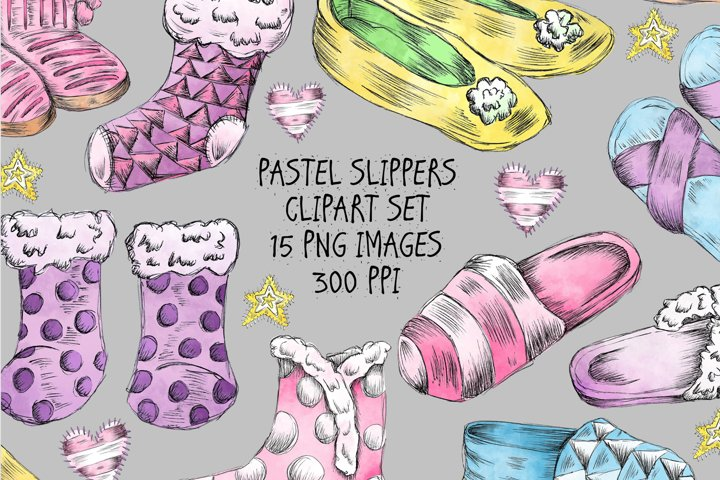 Pastel Slippers Winter Clipart Set - 15 PNG Images.