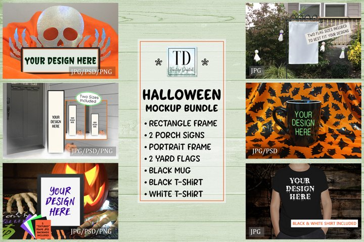 Halloween Mockup Bundle, Frame, Porch Sign, Flag, Mug, Shirt