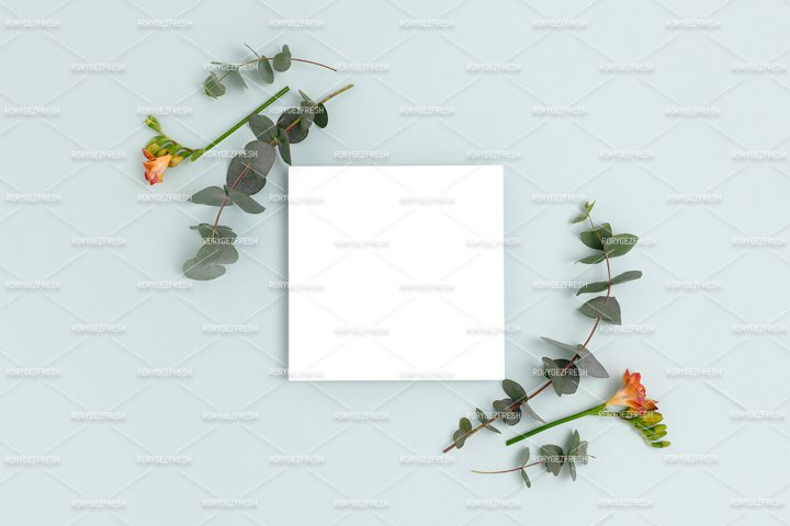 Paper card mockup with copy space. Frame made of eucalyptus