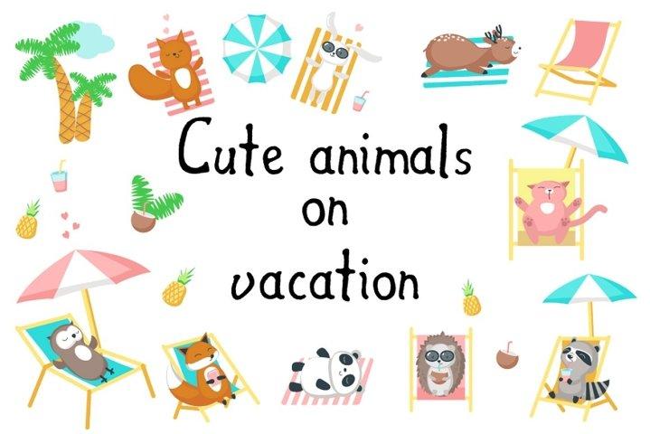 Cute animals on a beach