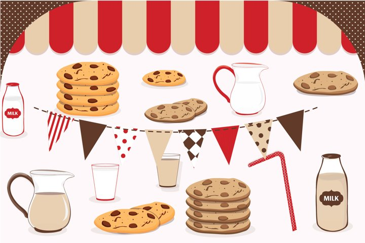 Milk and cookies clipart, Milk and cookies graphics