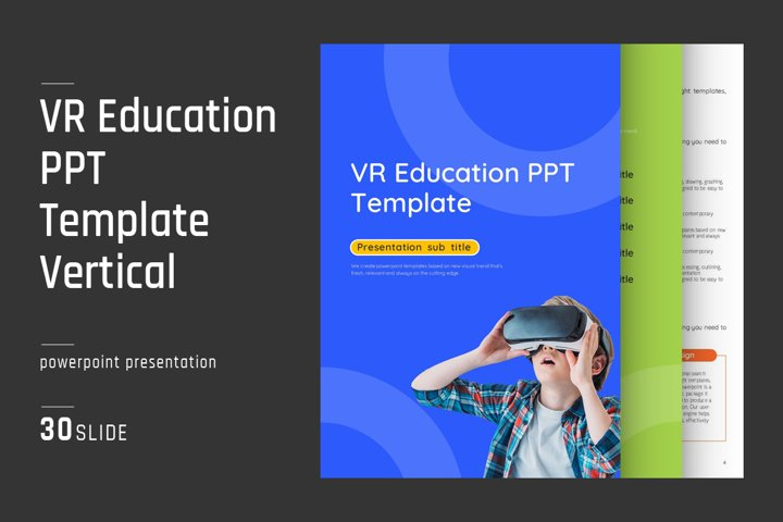 VR Education PPT Template Vertical