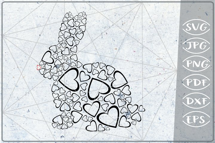 Bunny Red Nose Hearts Print in Heart SVG Cutting File Love