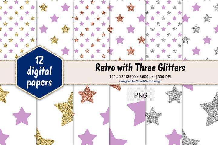 Stars Retro with Three Glitters Color Combo #99
