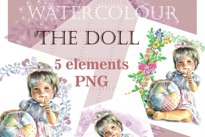 Art Baby Funny, Doll clipart, Watercolor clipart-cute doll