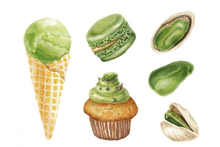 Watercolor pistachio set