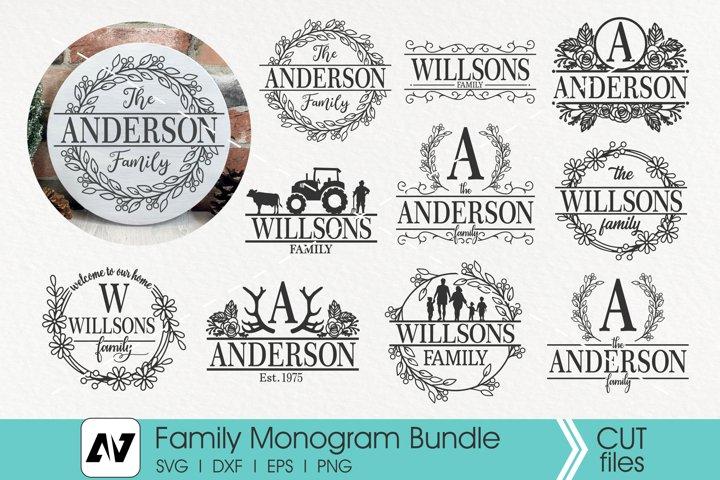 Family Monogram Svg Bundle, Family Porch Sign Svg,Family Svg