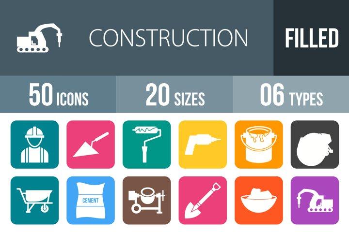 50 Construction Filled Round Corner Icons Season II
