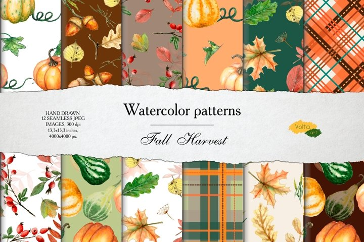 Watercolor seamless Fall patterns with pumpkins and leaves