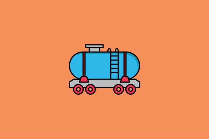 tank wagon filled outline Icon. construction and tool vector