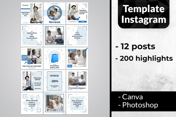 Blue Template Instagram Pack | story highlight icons