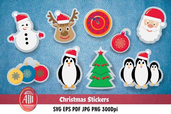 Christmas stickers bundle. 9 Xmas stickers svg.