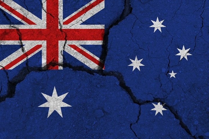 Australia flag on the cracked earth.
