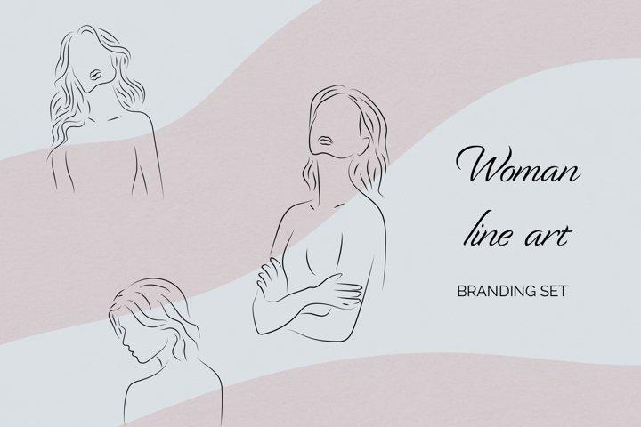 Woman line art / Vector clip art / Illustrations set