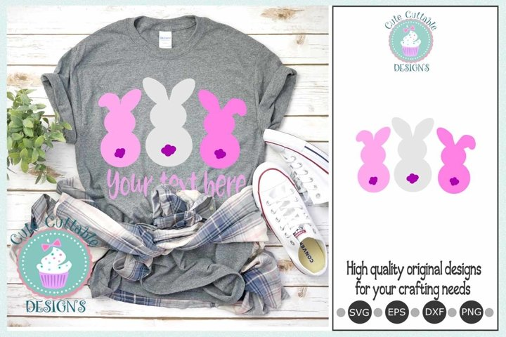 Bunnies Easter svg 3 Bunny tail Bundle Sublimation-Cut