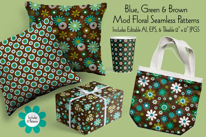 Blue, Green & Brown Mod Seamless Floral Patterns