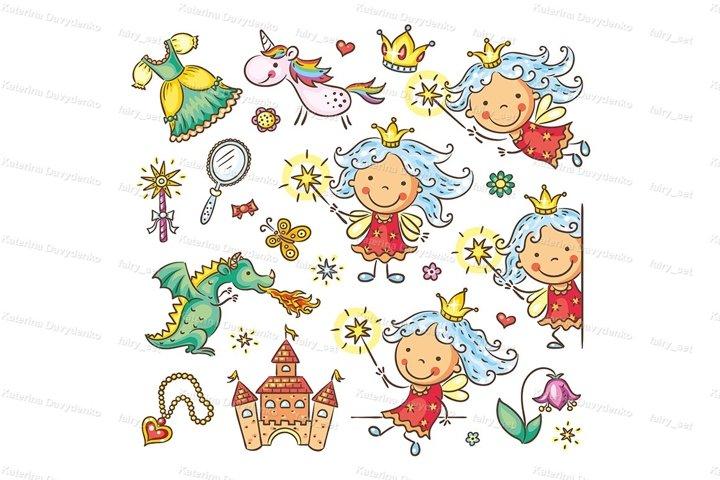 Little fairy set with a castle, unicorn, dragon, accessories