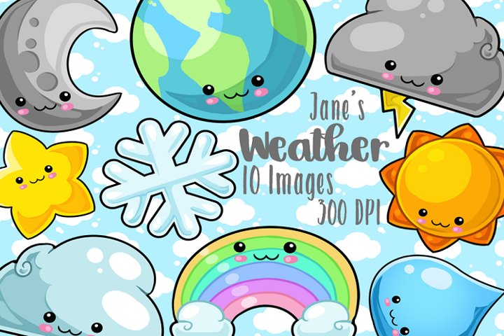 Kawaii Space and Weather Clipart
