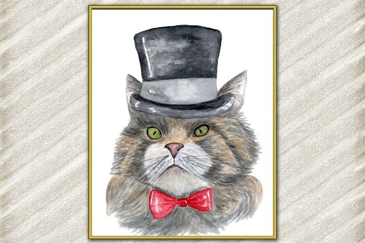 Cat Watercolor Print, Funny cat Poster, Cat Wall Art