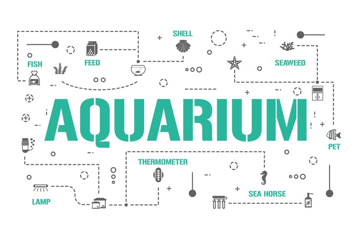 Aquarium word concepts banner and icons