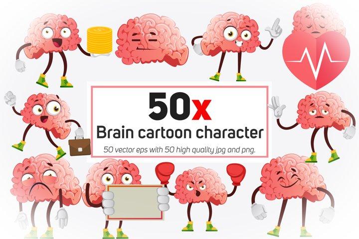 50x Brain cartoon character collection illustration.
