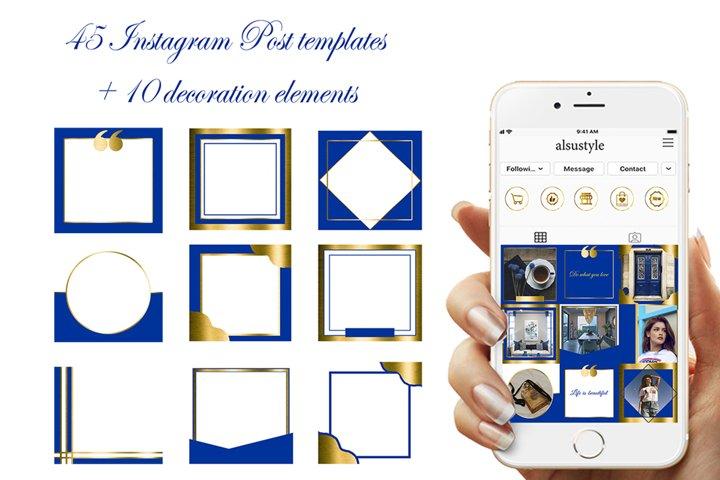 Navy Blue Instagram Post Templates,Dark Blue Instagram frame