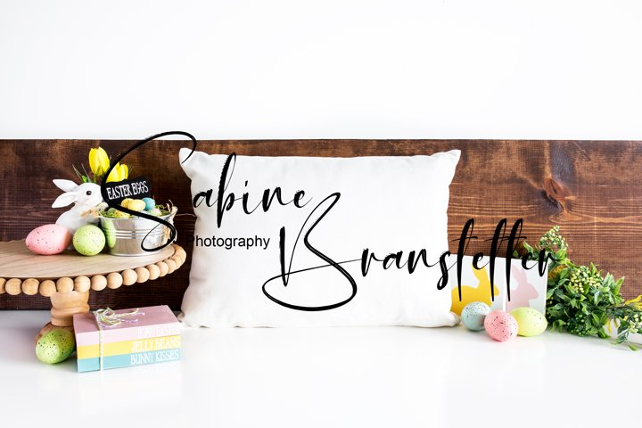 Mockup - White Rectangle Pillow Easter Decor Photography