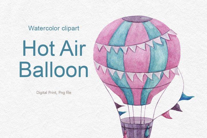 Watercolor air balloon clipart