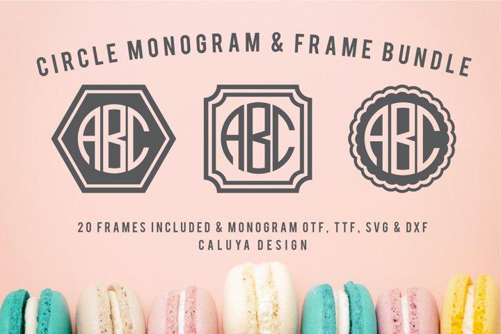 Circle Monogram Font   20 Monogram Frames Bonus Included
