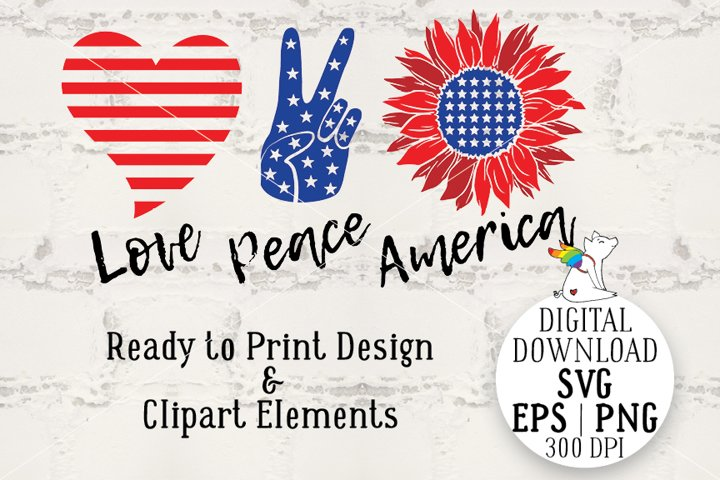 SVG Patriotic & flags, Sunflower America, 4th of july svg