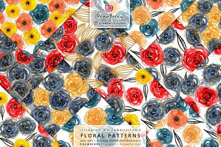 Watercolor Floral Digital Paper